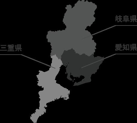 東海三県の地図
